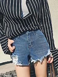 Femme Street Chic Taille Normale Jeans Short Pantalon,Ample Damier