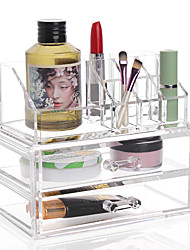 Acrylic Transparent Complex Combined Large Capacity Treble 3 Layer Makeup Brush Pot Cosmetics Storage Stand Drawer Cosmetic Organizer Box 2PCS Set