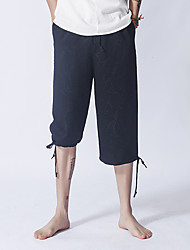 Men's Mid Rise Inelastic Shorts Pants,Simple Loose Straight Solid