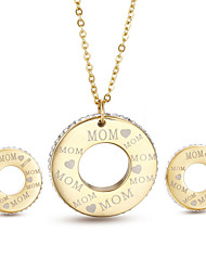 Kalen New Rhinestone Gold Color MOM Letters Pendant Necklace & Stud Earrings Sets Classic Best Mother's Day Gifts For Mother Mom Mama