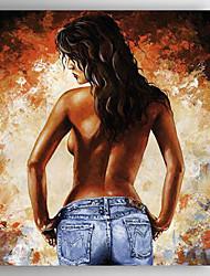 pintado a mano la gente de impresión de espalda pintura al óleo con camilla para la decoración del hogar listo para colgar