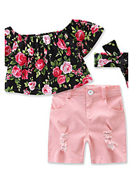 Girls' Solid Color shorts T-shirt Floral Clothes Sets Cotton Summer Short Sleeve Clothing Set