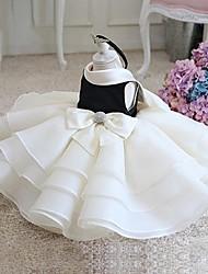 vestido de bola corto / mini vestido de la muchacha de flor - organza cuello de la joya sin mangas con el arco (s) cristal que detalla ruching de ydn
