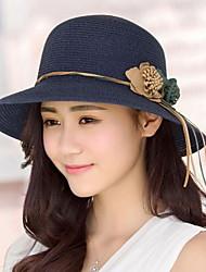 Feminino Casual Palha Verão Chapéu de sol,Estampado
