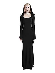Gaine Noir Tee Shirt Robe Femme Décontracté / Quotidien Soirée / Cocktail Vacances Sexy simple Punk & Gothique,Couleur Pleine Capuche Maxi