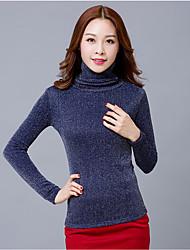 Damen Solide Einfach Lässig/Alltäglich T-shirt,Rollkragen Herbst Langarm Baumwolle Undurchsichtig