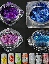4Bottle/set Fashion Elegant Style Design Nail Art DIY Beauty Dazzling Paillette Laser Stripe Rhombus Glitter Thin Slice  Decoration LW2and3and6and13