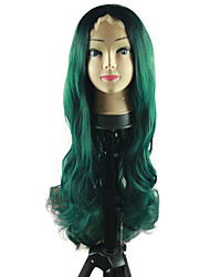 Heat Resistant Synthetic Lace Front Wigs Natural Wave Hair Green Color Synthetic Hair Fiber Wig For Fashion Woman