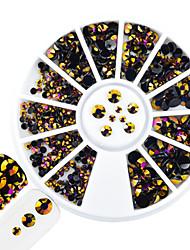 1pcs forme mixte ongle art rond disque glitter violet topaze flamme rhinestone brillant résine gelée décoration strass pour ongles art diy
