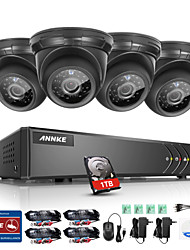 ANNKE® 4CH 4PCS 720P HD Video 4 in 1 DVR Home Weatherproof Surveillance Security System 1TB with Remote Access