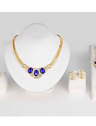Set de Bijoux Bracelets Rigides Collier court /Ras-du-cou Cristal Circulaire Cristal Forme Géométrique Bleu de minuit1 Collier 1 Paire de