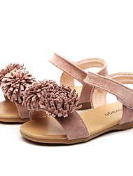 Girls' Sandals Summer Comfort Light Soles Microfibre Outdoor Party & Evening Dress Casual Flat Heel Applique Nude Blushing Pink Army Green