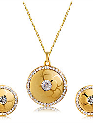 Earrings Set Necklace Pendants AAA Cubic Zirconia Euramerican Fashion Cubic Zirconia Alloy Round 1 Necklace 1 Pair of Earrings ForWedding