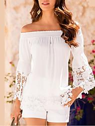 Damen Solide Einfach Ausgehen T-shirt,Bateau Sommer Langarm Polyester Mittel
