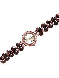 Women's Necklace Watch Quartz Jade Band Black Red