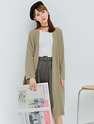 Women's Going out Casual/Daily Cute Spring Fall Pea Coat,Solid V Neck Long Sleeve Long Others