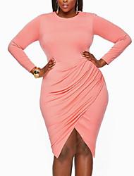 Moulante Robe Femme Soirée / Cocktail Soirée Grandes Tailles Sexy simple Chic de Rue,Couleur Pleine Col Arrondi AsymétriqueManches