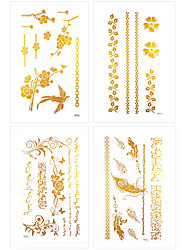 6Pcs/Lot Waterproof Temporary Tattoo Rose Feather Flash Stickers Party Gold Tattoo Sticker