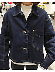 Feminino Jaqueta jeans Casual Simples Primavera,Sólido Curto Others Decote Redondo