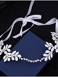 White Leaf Elegant Pearl Crystal Headpiece-Wedding Special Occasion Outdoor Tiaras Headbands Head Chain Hair Tool Wedding Bride Jewelry 1 Piece
