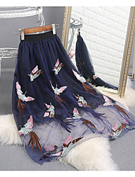Women's Low Rise Midi Skirts Swing Solid