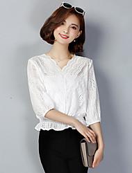 Damen Solide Einfach Lässig/Alltäglich T-shirt,Ständer ½ Länge Ärmel Andere