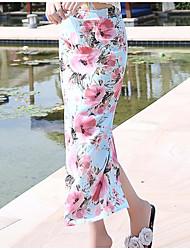 Feminino Cintura Alta Midi Saias,Lápis Floral