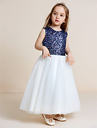 A-line Tea-length Flower Girl Dress - Tulle Sequined Jewel with Draping Sequins