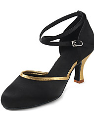 Women's Dance Shoes  Heeled shoes Latin Sandals  Mesh  Satin Black-Gold Customizable