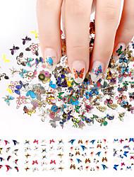 3d наклейки ногтей 24pcs большой размер листа луна бабочка животных шаблон для штамповки прелести бронза ногтей искусство отличительные
