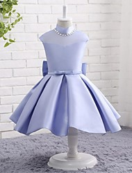 A-line Knee-length Flower Girl Dress - Mikado Jewel with Bow(s) Crystal Detailing