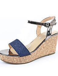 Femme-Habillé Décontracté--Talon Compensé-Confort club de Chaussures-Sandales-Similicuir