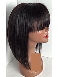 Straight Short Bob Wigs For Women Natural Hairline Lace Front Wig Glueless Full Lace Wigs With Bang