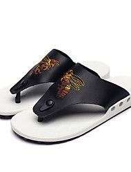 Men's Slippers & Flip-Flops Summer Light Soles PU Casual Animal Print Button Black White Walking