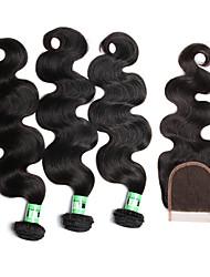 Cabelo Humano Ondulado Cabelo Malaio Onda de Corpo 18 Meses 4 Peças tece cabelo