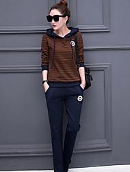 Sweat à capuche Pantalon Costumes Femme,Couleur Pleine Décontracté / Quotidien simple Printemps Manches longues Col Arrondi non élastique