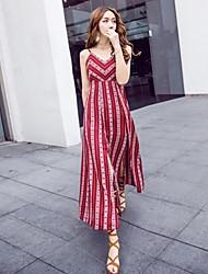 Chemise Robe Femme Plage Bohème,Rayé Col en V Maxi Sans Manches Coton Printemps Eté Taille Normale Micro-élastique Fin