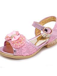 Girls' Sandals Summer Tiny Heels for Teens PU Dress Casual Low Heel Bowknot Imitation Pearl Magic Tape