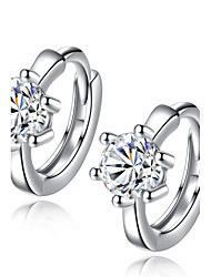Hoop Earrings Unique Design Cubic Zirconia Platinum Plated Silver Jewelry For Wedding Party Daily Casual 1 pair