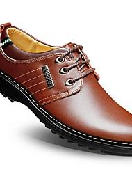-Для мужчин-Свадьба Для офиса Повседневный-Кожа-На плоской подошве-Удобная обувь Формальная обувь-Туфли на шнуровке