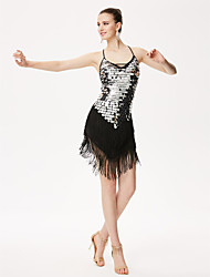 Shall We Latin Dance Leotards Women Performance Sequined Leotard Dress
