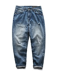Men's Mid Rise Inelastic Jeans Pants,Simple Loose Solid