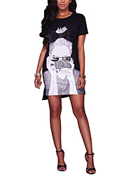 Women's Round Neck Casual/Daily Simple Print Sheath Short Sleeve Mini Dress