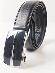 Men's casual fashion black leather belt buckle gift good choice automatically