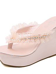 Women's Slippers & Flip-Flops Summer Flower Girl Shoes PU Dress Wedge Heel Satin Flower