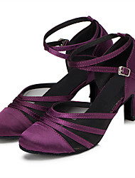 Customizable Women's Latin Ballroom Dance Shoes Satin Upper Suede Soft Leather Outsole Salsa Dancing Shoes For Women Black/Purple