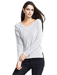 T-shirt Da donna Casual / Per uscire Sensuale / Romantico Autunno / Inverno,Tinta unita A V Cotone / Lino Blu / Nero / Grigio Manica lunga