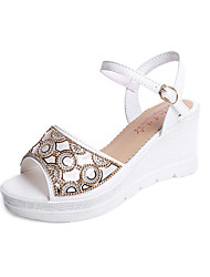 Women's Sandals Spring Summer Club Shoes Comfort Sweet All Match Fashion Peep Toe Dress Casual Wedge Heel Rhinestone Buckle