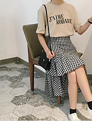 Femme Taille Normale Midi Jupes,Trompette/Sirène Damier