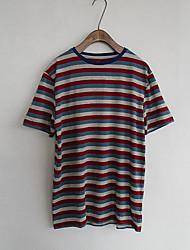 Tee-shirt Homme,Rayé Décontracté / Quotidien simple Manches Courtes Col Arrondi Coton